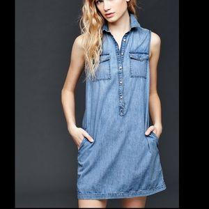 Women's Blue 1969 Denim Sleeveless Shirtdress
